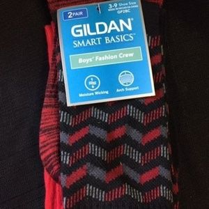 Gildan Boy' Smart Basics Crew Socks 2-PR